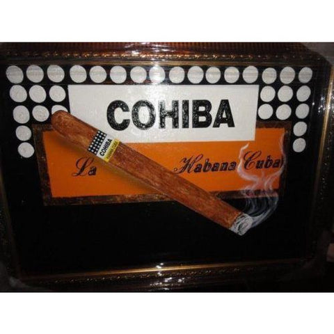 "Cohiba  large size painting  43"" L x 31 W ""  brushed gold framed"