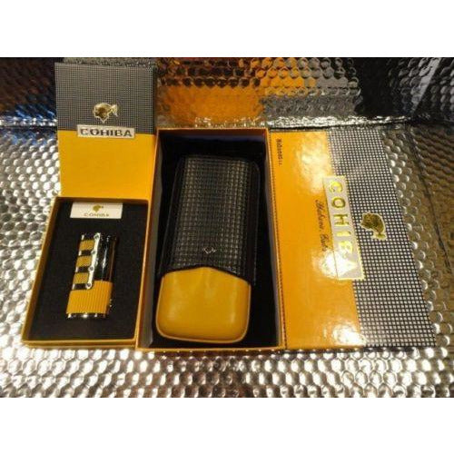 Cohiba Black & Gold Leather Cigar Case with Cohiba Pocket Lighter new in boxes