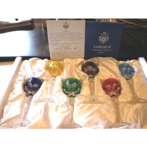 FABERGE Set of 6 Colored Lausanne Liqueur Glasses
