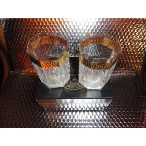 Versace Rosenthal Crystal Pair Glasses Whisky Glases  Medusa D'or