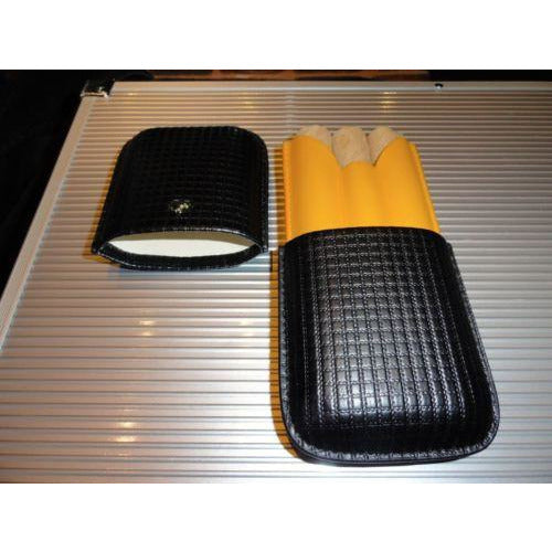 Cohiba Black & Gold Leather Cigar Case holds 3 Robusto size