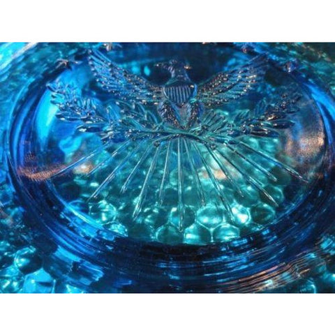 "cigar ashtray in electric blue 9.25"" diameter preowned good  condition"