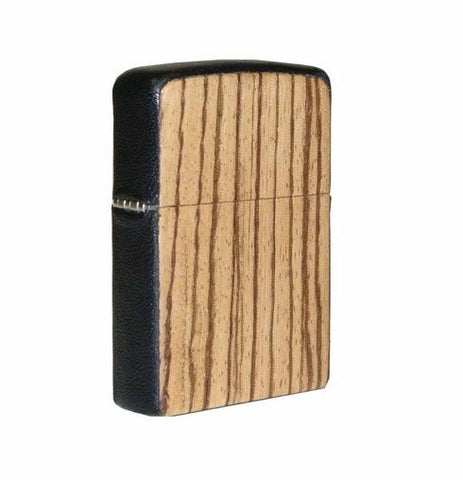 Brizard and Co. Zippo Lighter - Zebrawood and Black Leather