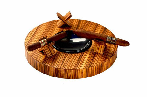 "Brizard and Co. The ""Deck"" Ashtray Round (Triple) - Zebrawood"