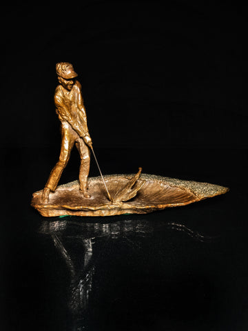 "Mark Hopkins Golf Series Bronze Sculpture "" Trapshot """
