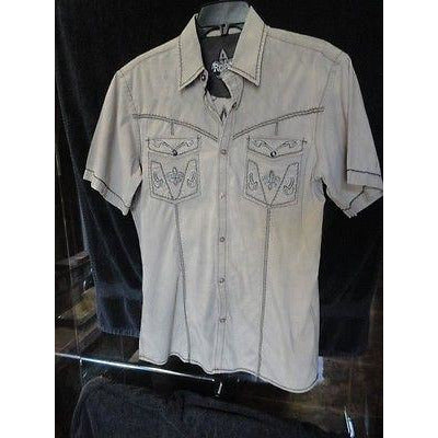 Roar Khaki & Brown  embroidered casual designer shirt Medium