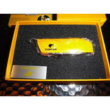 Cohiba Black & Gold Leather Cigar Case and Yellow Cohiba Lighter