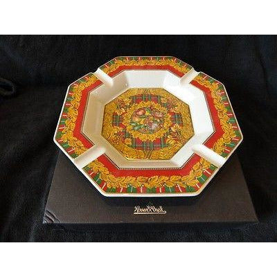 "Versace by Rosenthal Ashtray 9 inches wide New Porcelain "" Yuletide Cheer"" NIB"