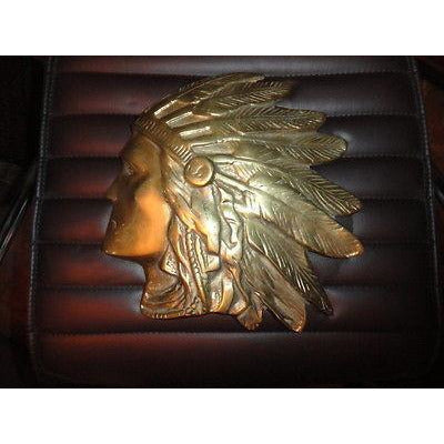 Brass Wall Plaque of Indian Chief Head