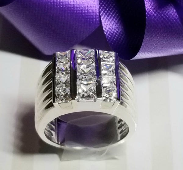 Men's Sterling Silver & Princess Cut Ring
