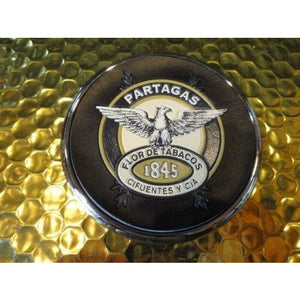 Partagas 1845  Logo Coaster Chome edging with leather bottom