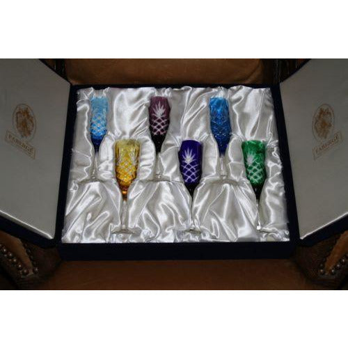 Faberge Crystal Colored  Flutes  set of 6 Glasses