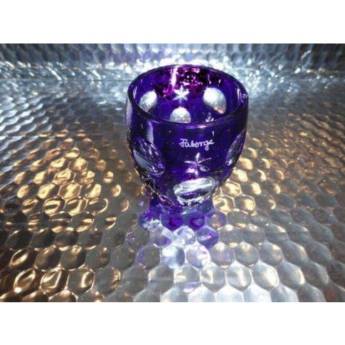 Faberge Na Zdorvye Galaxy Cobalt Blue Vodka Shot Glass etched by Faberge