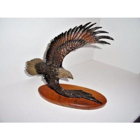 American Eagle Bronze Sculpture  Wooden Base