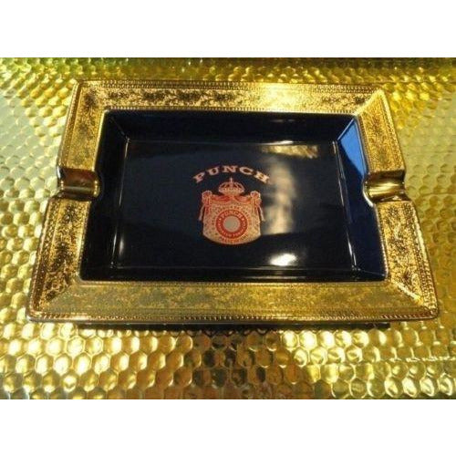 Punch ceramic blue and gold  ashtray new with cutter