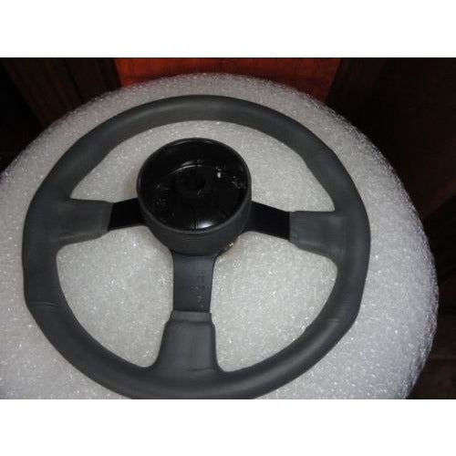 New Gussi Boat Steering Wheel M521 Grey Urethane Black Spoke & Black Hub Adaptor