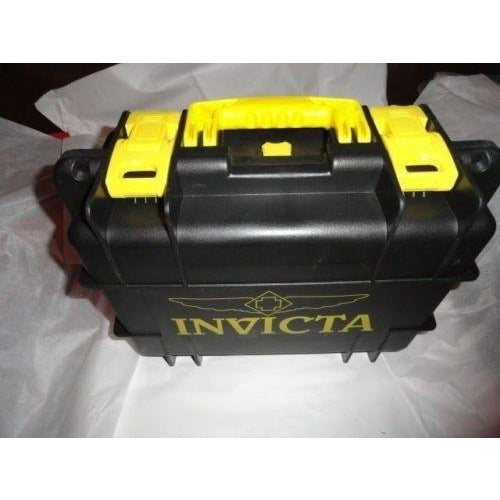 Invicta watch carrying case in grey with yellow handles holds 8 watches
