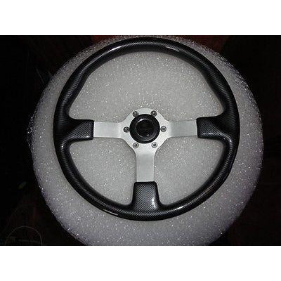 Gussi Boat Steering Wheel Black Carbon Look with Brushed Spoke & Polished Adapt