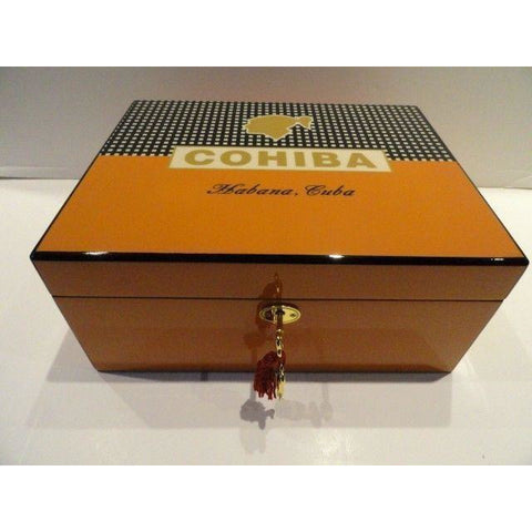 cohiba humidor comes with locking lid and key plus crystal ashtray