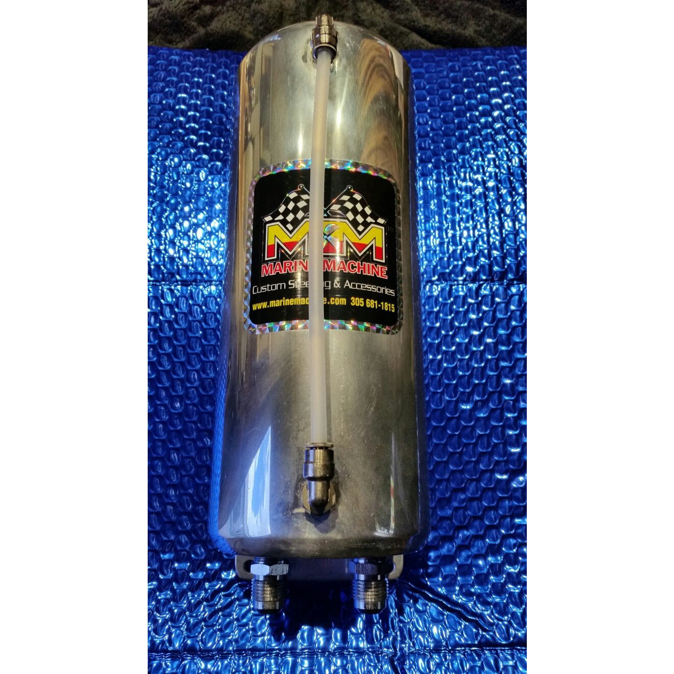 "Remote Reservoir Tank Xtra Long Measures 11""  L x 4.5"" Diameter .polished Alum"