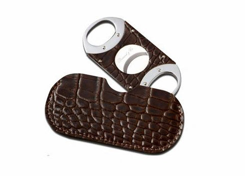 "Brizard and Co. The ""Double Guillotine"" Cigar Cutter - Croco Pattern Tobacco"
