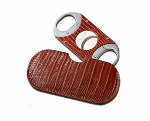 "Brizard and Co. The ""Double Guillotine"" Cigar Cutter - Lizard Pattern Havana"