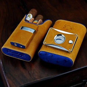 "Brizard and Co. The ""Elite Series 2"" Cutter - Blue Ostrich and Camel Color Leather"
