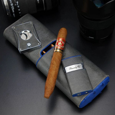"Brizard and Co. The ""Elite Series 2"" Cutter - Blue Ostrich and Grey Leather"