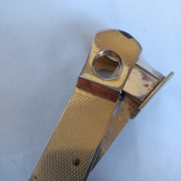 Vintage Cigar Cutter/Punch w/Box Opener and Gold Colored Metal Handle - Solingen