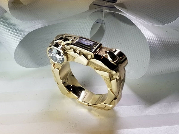 "Custom designed 14K Yellow Gold ""Rock"" Ring"