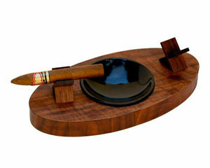 "Brizard & Co. | The ""Deck"" Ashtray Oval (Double) - Curly Walnut"