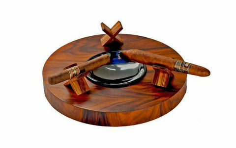 "Brizard and Co. - The ""Deck"" Ashtray Round (Triple) - Rosewood"