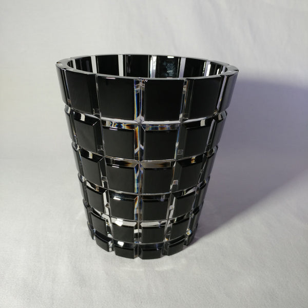 Faberge Black Cased Cut to Clear Crystal Metropolitan Ice Bucket