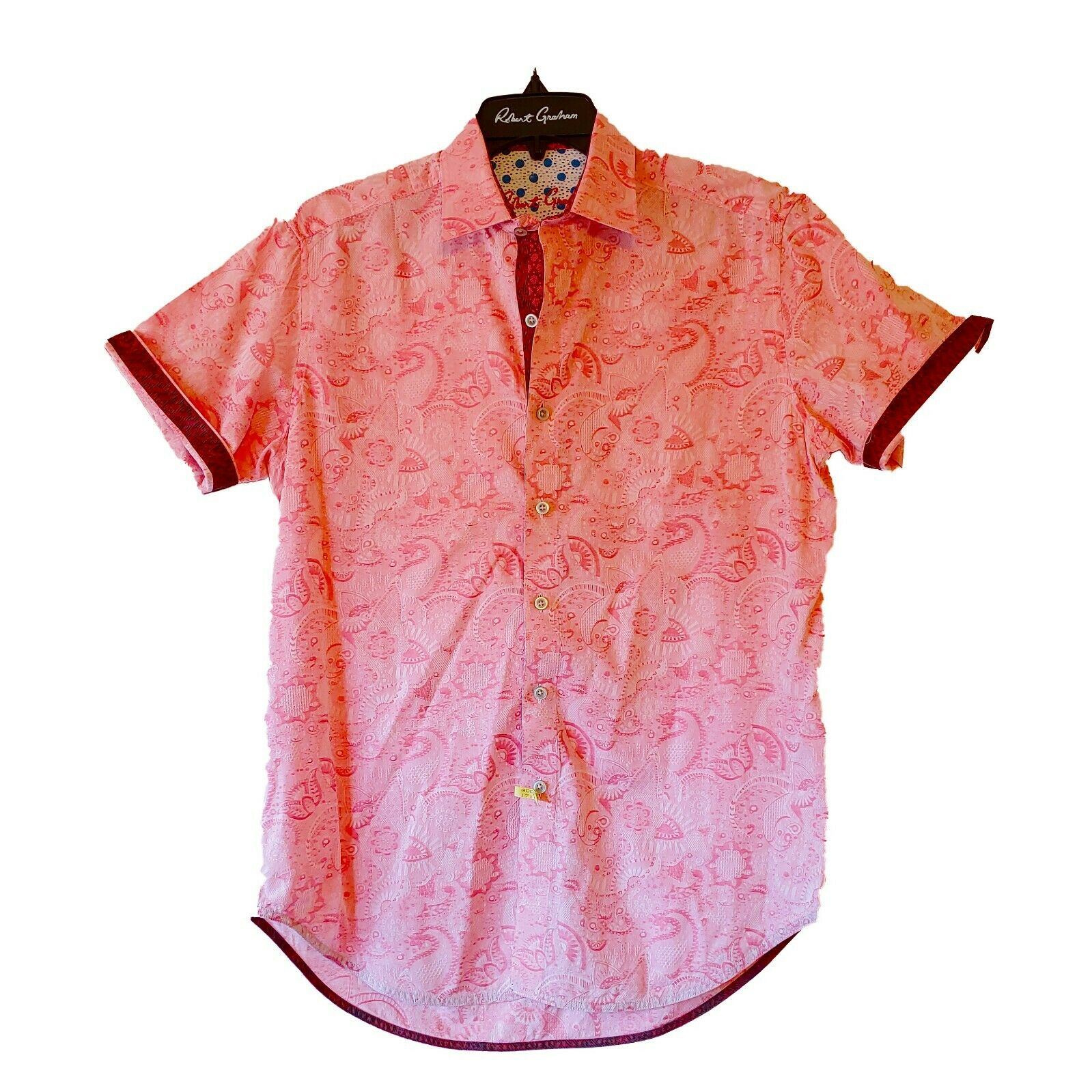 Robert Graham Short Sleeve Pink Floral Printed Sport Shirt Classic Fit - Medium