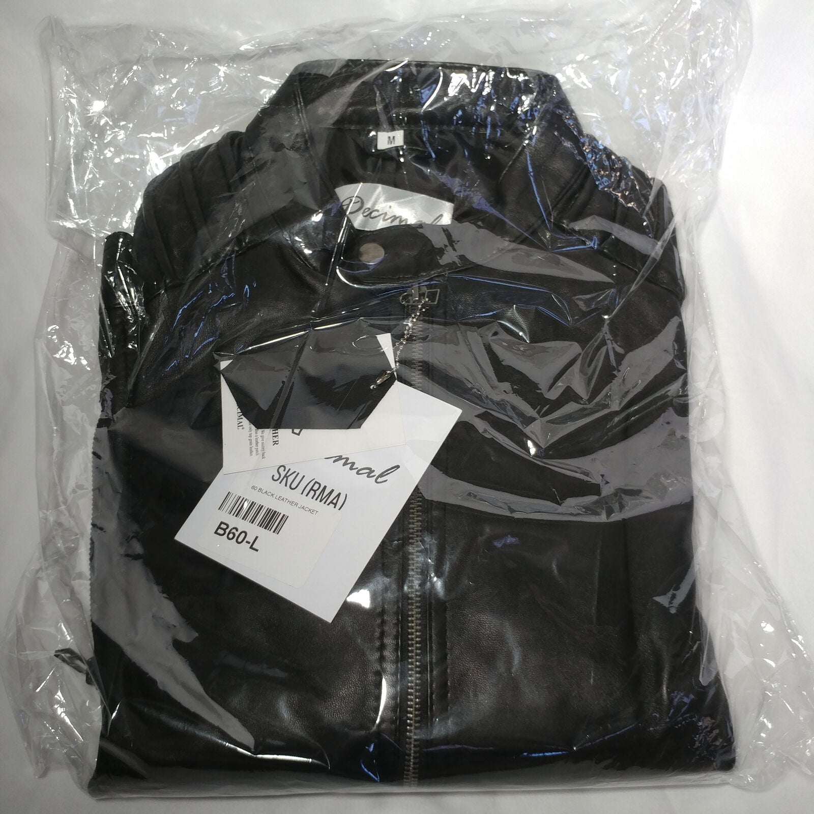 Decimal | Men's Black Leather Jacket | Size: Medium | Style: B60-L | NEW