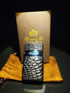 Brizard and Co Genuine Black Caiman Leather Lighter NIB