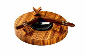 "Brizard and Co. - The ""Deck"" Ashtray Round (Triple) - Zebrawood"