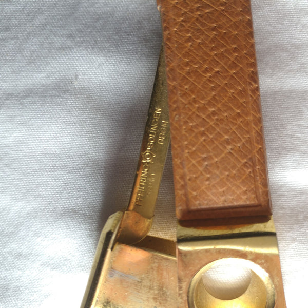 BROWN LEATHER HANDLE CIGAR CUTTER DONATUS SOLINGEN GERMANY
