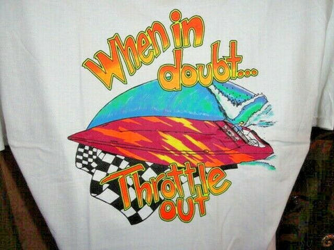 """ When in Doubt Throttle Out ""   Hanes Beefy-T Shirt"