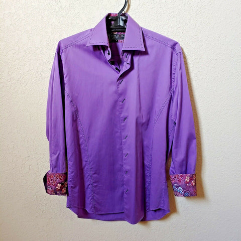 Deluxe Collection | Men's Purple Long sleeve Button down Casual Shirt | Sz. 3