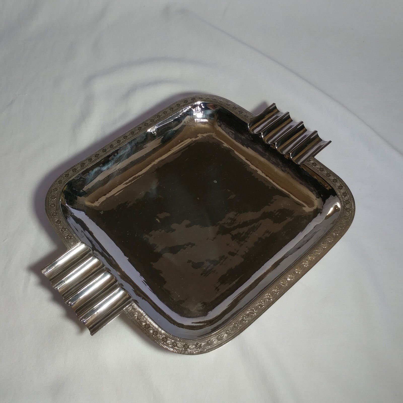 Chrome over Brass  Plated Serving Tray