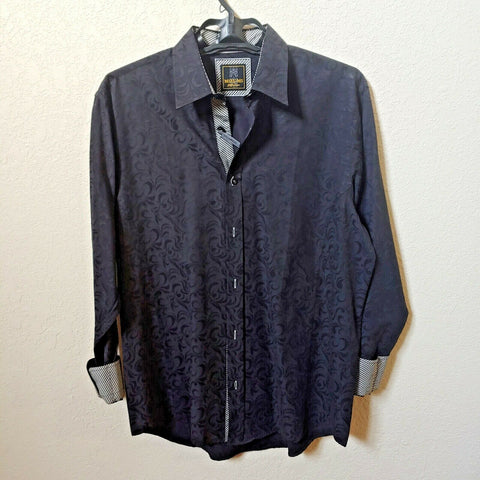 Mizumi Collegioni | Men's Black Longsleeve Casual Buttondown Shirt