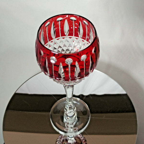 FABERGE XENIA  IMPERIAL RED CASED CUT TO CLEAR CRYSTAL GOBLET | SINGLE
