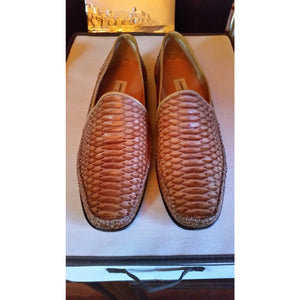 Lorenzo Banfield Size 12 M Tan Lizard Shoes Preowned Good Condition.