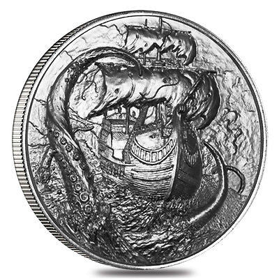 Kraken .999 Silver Coin Round 3D Perfect Uncirculated