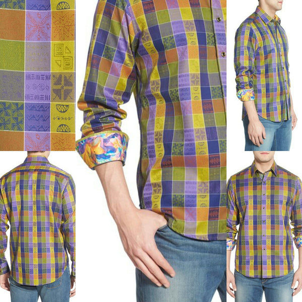 "Robert Graham ""Smooth Stones"" Classic Fit  Medium-sized Shirt New"
