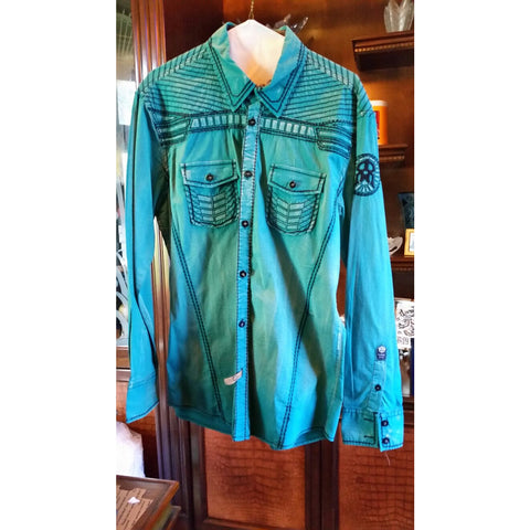 Roar Teal Long Sleeve Preowned Good Condition Shirt Size Medium