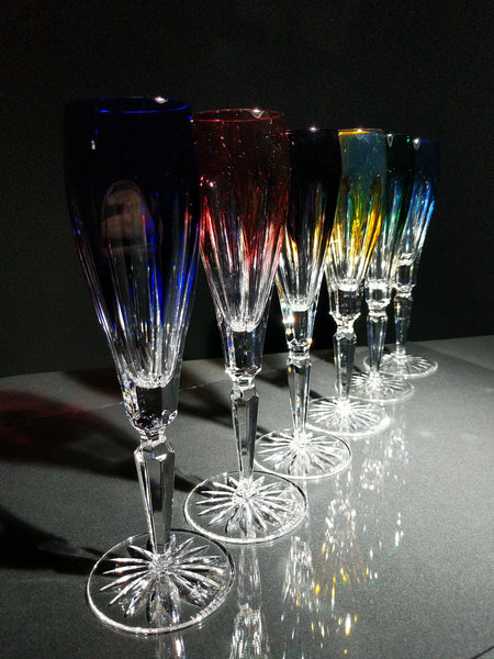 Faberge Lausanne Crystal Colored Flutes