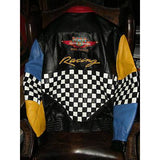 custom checkered colored  leather jacket new