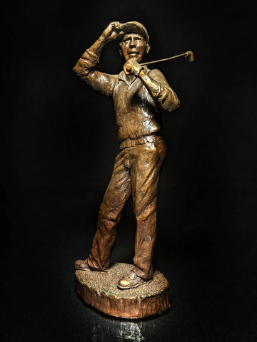 "Mark Hopkins Bronze Golf Series Sculpture called "" Down the Middle  "" Made in USA"